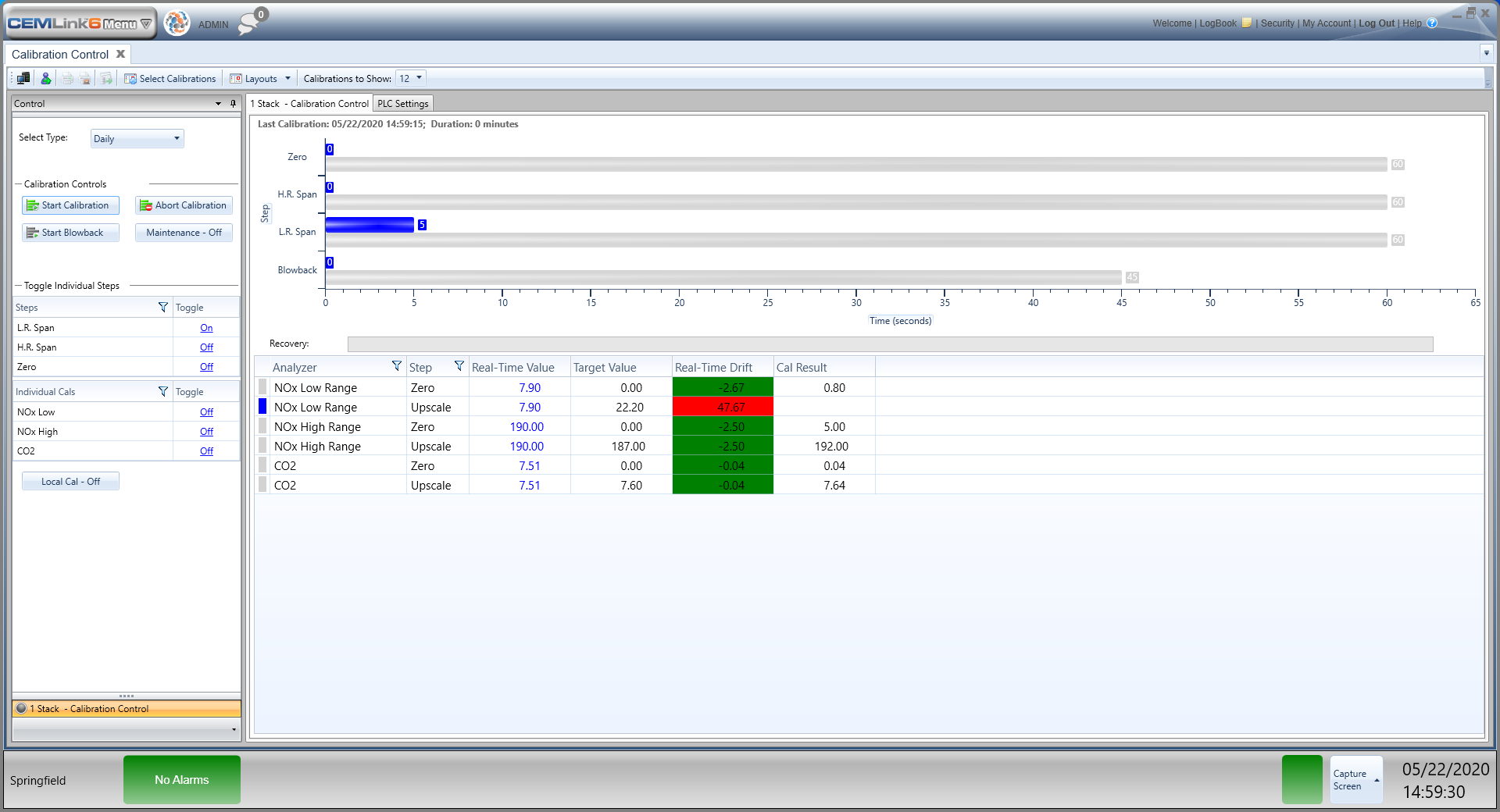 CEMLink 6 calibration control screenshot