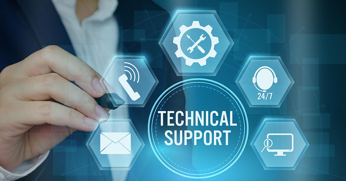 man pointing to icon of technical support services