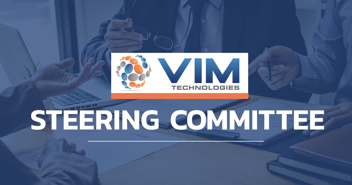 """Graphic with VIM logo and """"steering committee"""""""